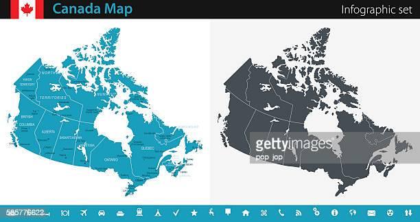 canada map - infographic set - calgary alberta stock illustrations