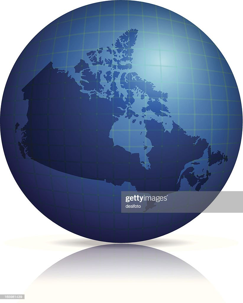 Map Of Canada On Globe.Canada Map On Globe With Shadow And Reflection Stock Vector Getty