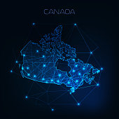 Canada map outline with stars and lines abstract framework. Communication, connection concept.