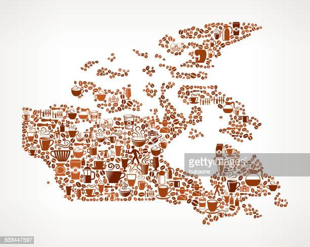 canada map royalty free vector coffee background graphic - icon collage stock illustrations
