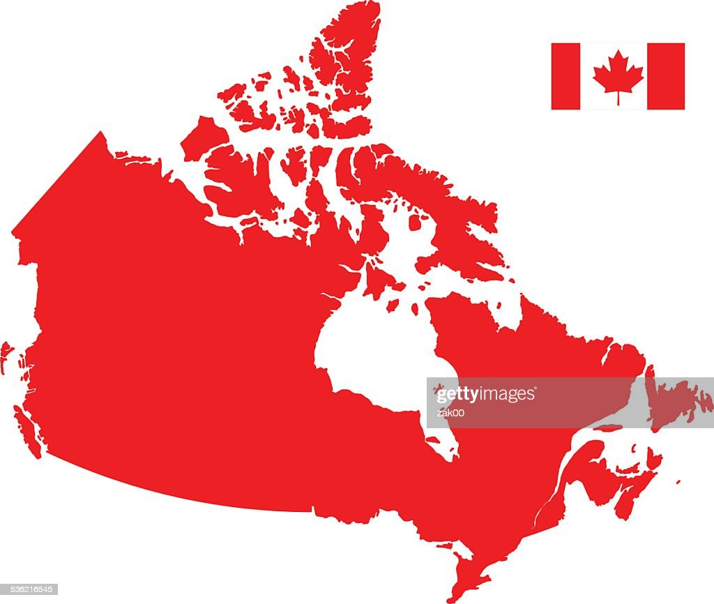 Canada Karte silhouette mit Flagge : Stock-Illustration