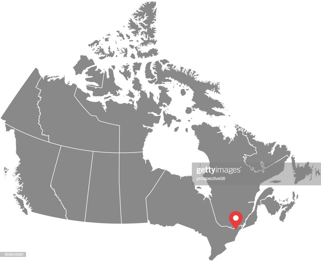 Canada map vector outline illustration with provinces or states borders and capital location, Ottawa, in gray background. Highly detailed accurate map of Canada prepared by a map expert.