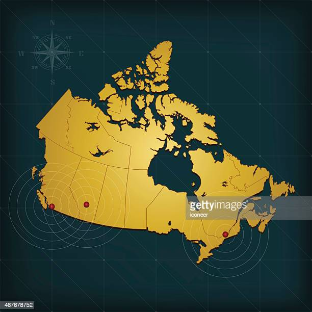 canada map with cities markers on dark background - coordination stock illustrations, clip art, cartoons, & icons