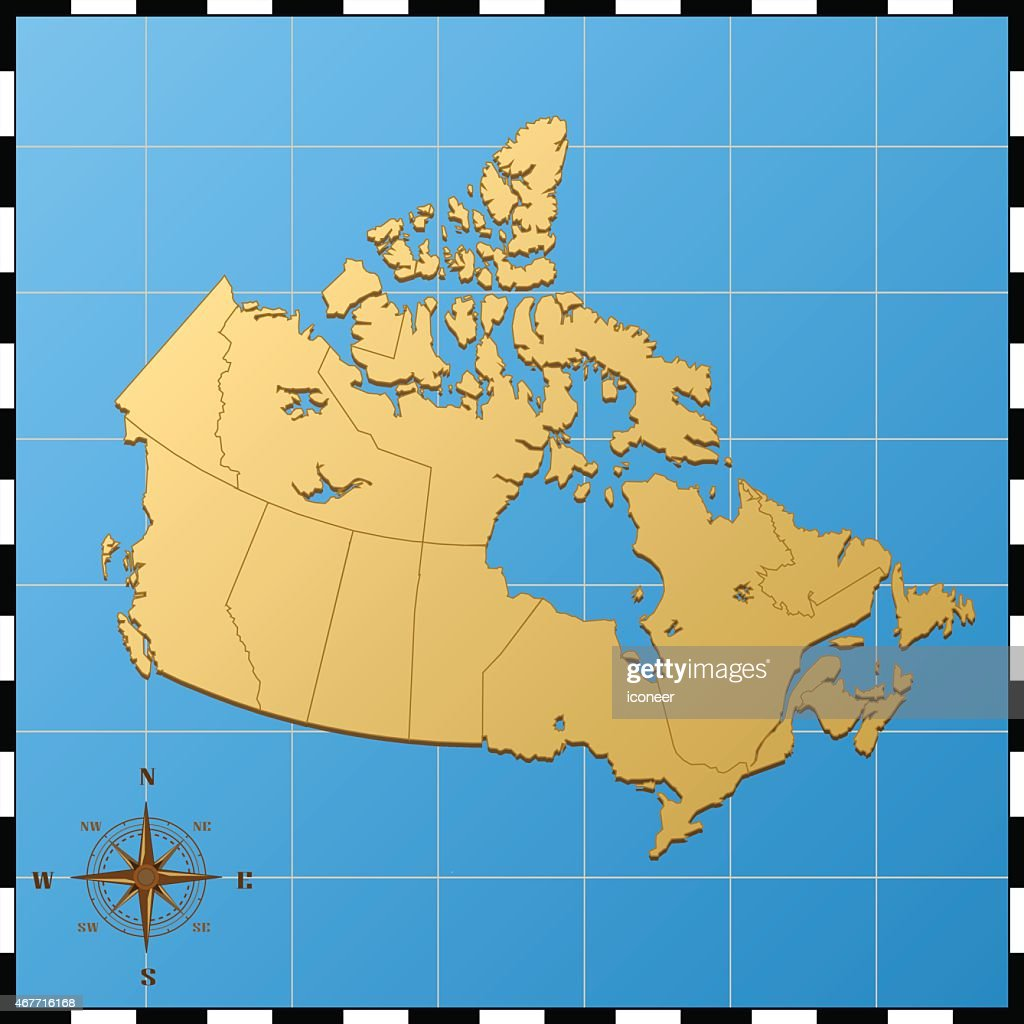 Canada Map With Compass Rose On Blue Background High-Res ...