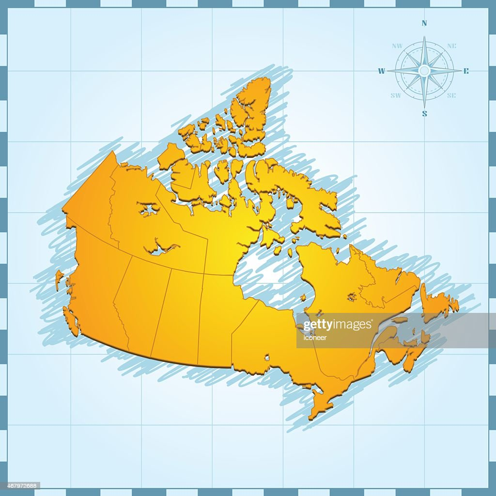Canada Map With Compass Rose On Blue Background Vector Art Getty