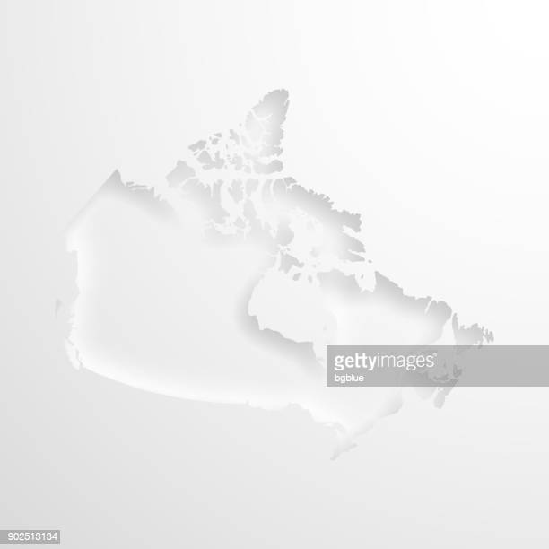 Canada map with embossed paper effect on blank background