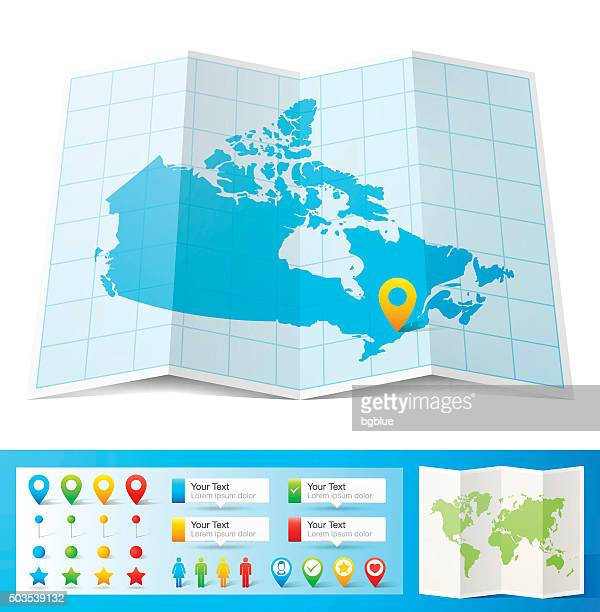 Canada Map with location pins isolated on white Background