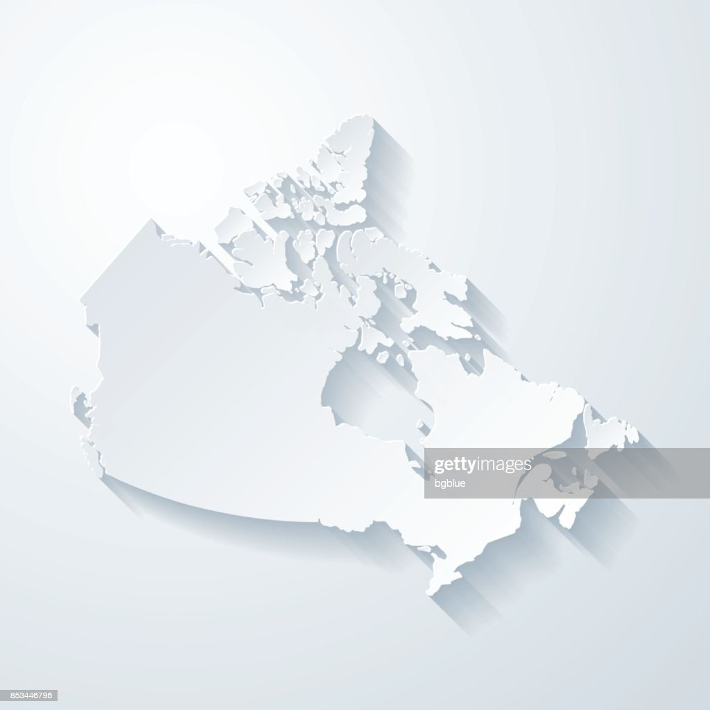 Picture of: Canada Map With Paper Cut Effect On Blank Background High Res Vector Graphic Getty Images
