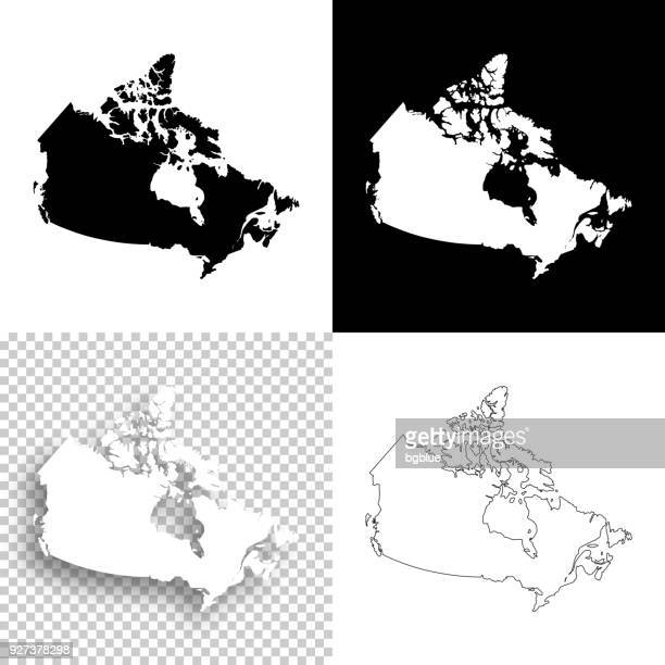 canada maps for design - blank, white and black backgrounds - canada stock illustrations