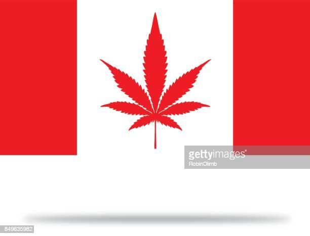 kanada-marihuana-flagge mit schatten - cannabis medicinal stock-grafiken, -clipart, -cartoons und -symbole