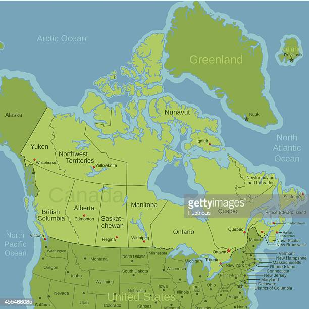 Canada North American Map with Capitals and Labels