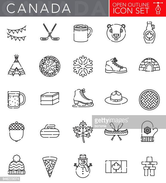 canada open outline icon set - canadian flag stock illustrations