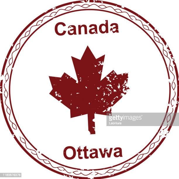 canada passport stamp - the americas stock illustrations
