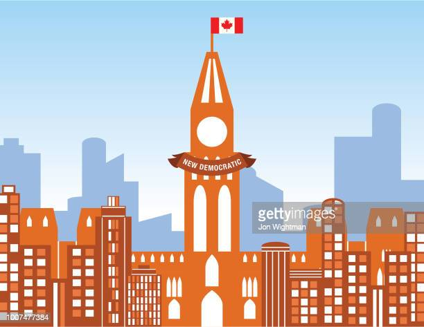 canada politics concept cityscape - new democratic party - political party stock illustrations