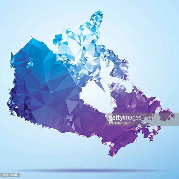 canada polygon triangle map blue - canada stock illustrations