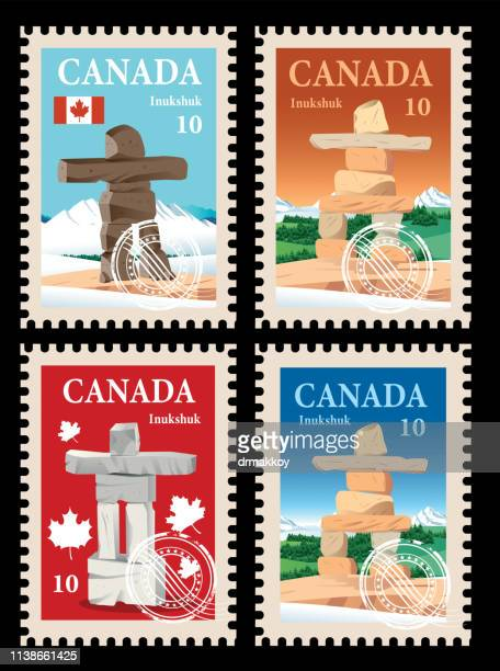 canada postage, inuksuk - traditionally canadian stock illustrations