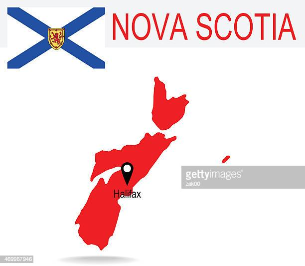 canada province : nova scotia map and flag - flag of nova scotia stock illustrations