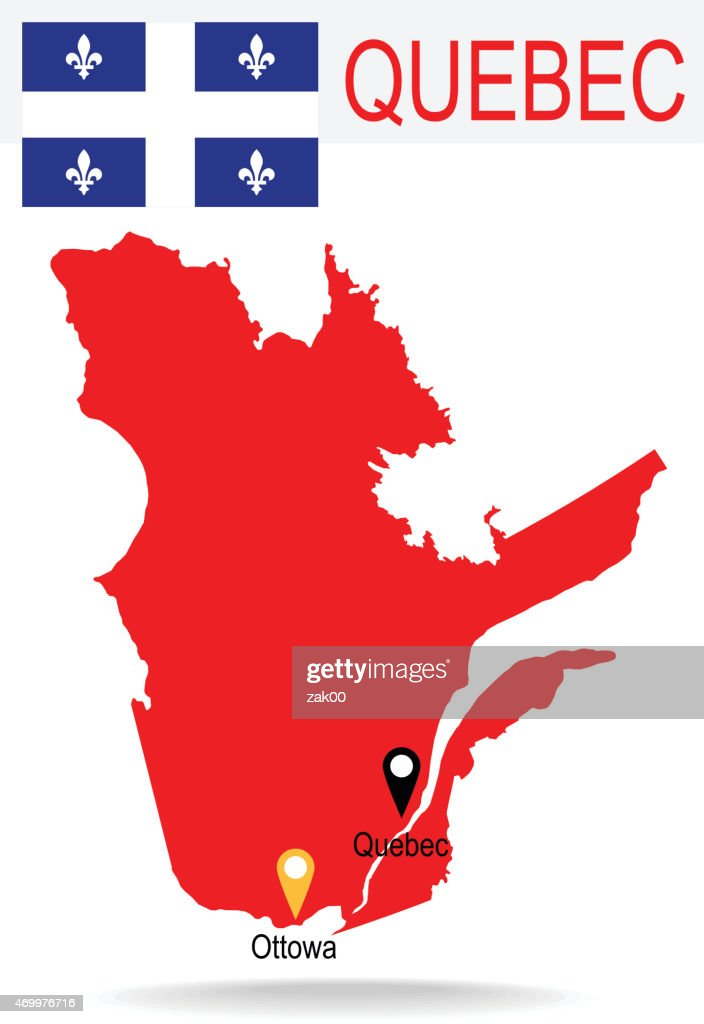Canada Province : Quebec map and Flag