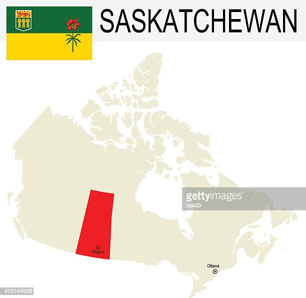 canada province saskatchewan flag and beige map graphics - saskatchewan stock illustrations