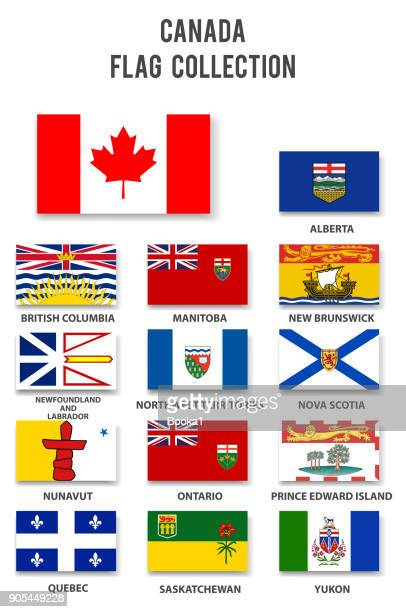 canada provinces flag collection - flag stock illustrations