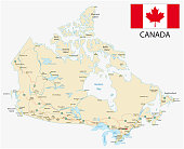canada road vector map with flag