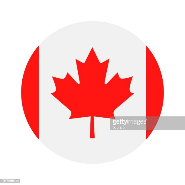 canada - round flag vector flat icon - canada stock illustrations
