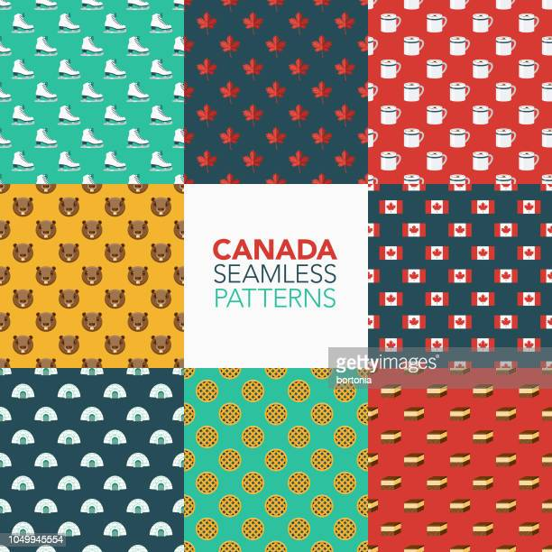 canada seamless pattern set - canada day stock illustrations