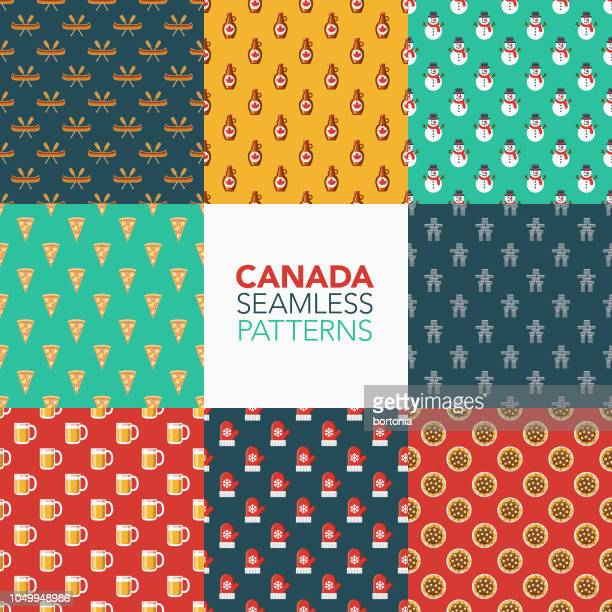 canada seamless pattern set - maple syrup stock illustrations