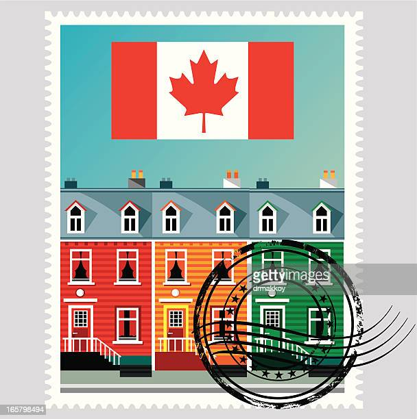 canada stamp - flag of nova scotia stock illustrations