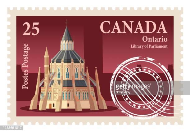 illustrations, cliparts, dessins animés et icônes de timbres du canada, ontario et bibliothèque du parlement - ottawa