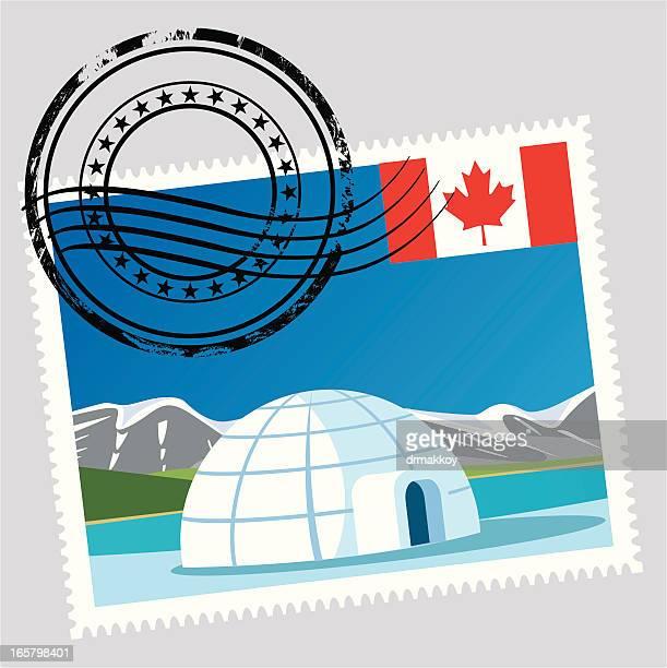 illustrations, cliparts, dessins animés et icônes de canada timbres - igloo