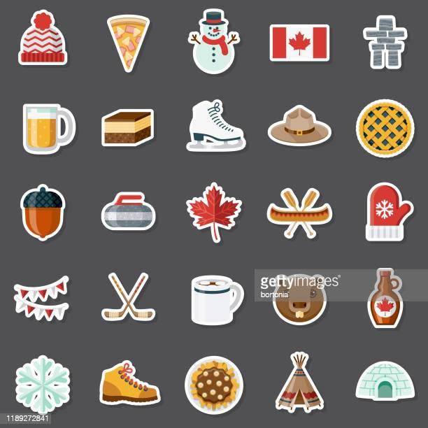 canada sticker set - canadian flag stock illustrations