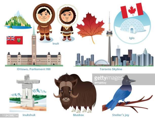 illustrations, cliparts, dessins animés et icônes de symboles du canada - igloo