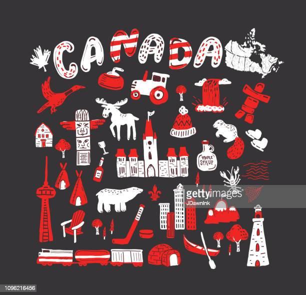 illustrations, cliparts, dessins animés et icônes de canada sur le thème carte conception éléments dessinés à la main - igloo