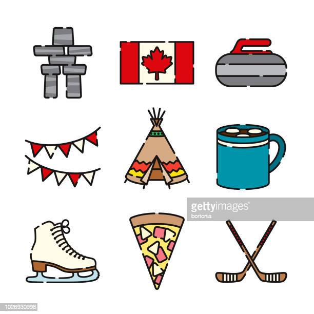 canada thin line icon set - canada day stock illustrations