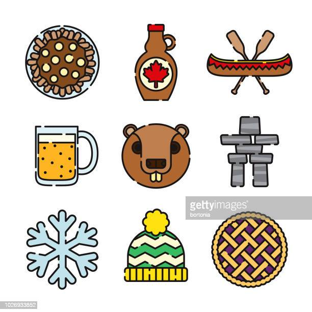 canada thin line icon set - maple syrup stock illustrations