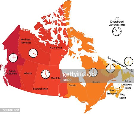Ontario Canada Time Zone Map.Canada Time Zone Map Vector Art Getty Images