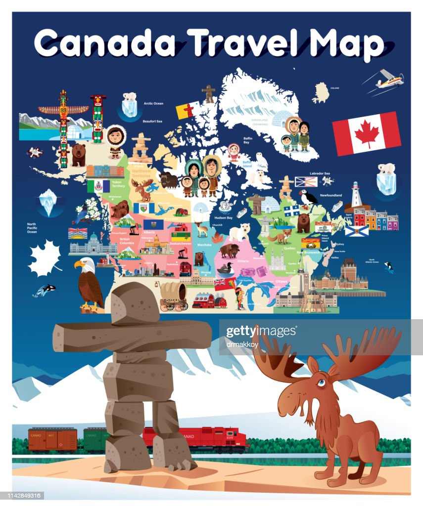 Travel Map Of Canada.Canada Travel Map Stock Vector Getty Images