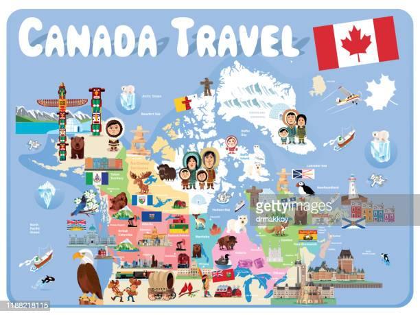canada travel, toronto, ontario ,montreal, quebec ,vancouver, british columbia ,calgary, alberta ,edmonton ,ottawa ,winnipeg, manitoba ,quebec city, quebec ,hamilton ,kitchener ,london ,halifax, nova scotia - flag of nova scotia stock illustrations