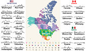 Canada, United States and Mexico detailed map with states names and borders. Flags and largest cities skylines outline icons of United States, Canada and Mexico