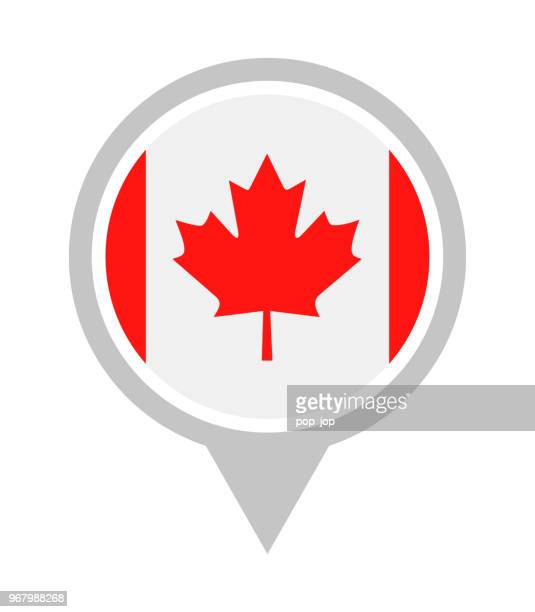 canada - vector round flag pin flat icon - canadian flag stock illustrations