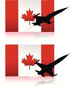 canadian flag and jet planes