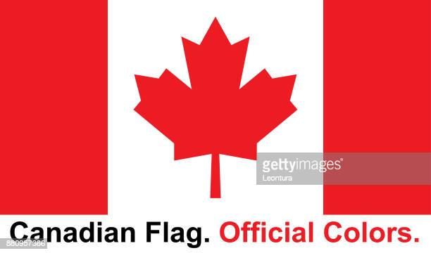 canadian flag (official colors) - canadian flag stock illustrations