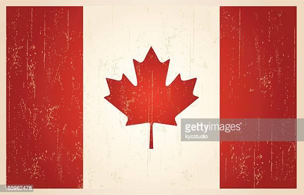 canadian grunge vintage flag - canadian flag stock illustrations