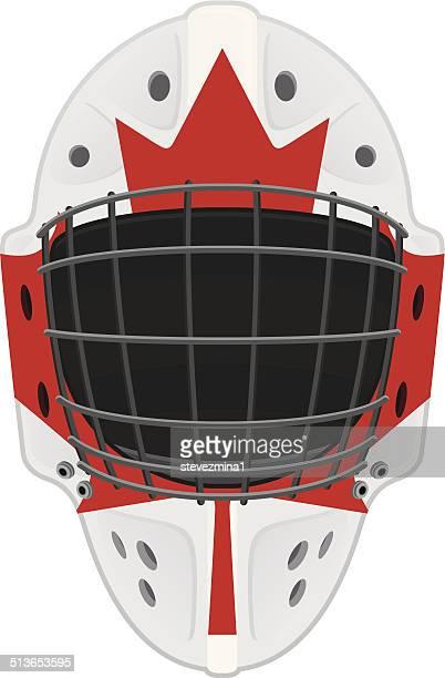 canadian hockey player head mask - ice hockey uniform stock illustrations