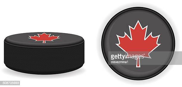 canadian hockey puck - puck stock illustrations