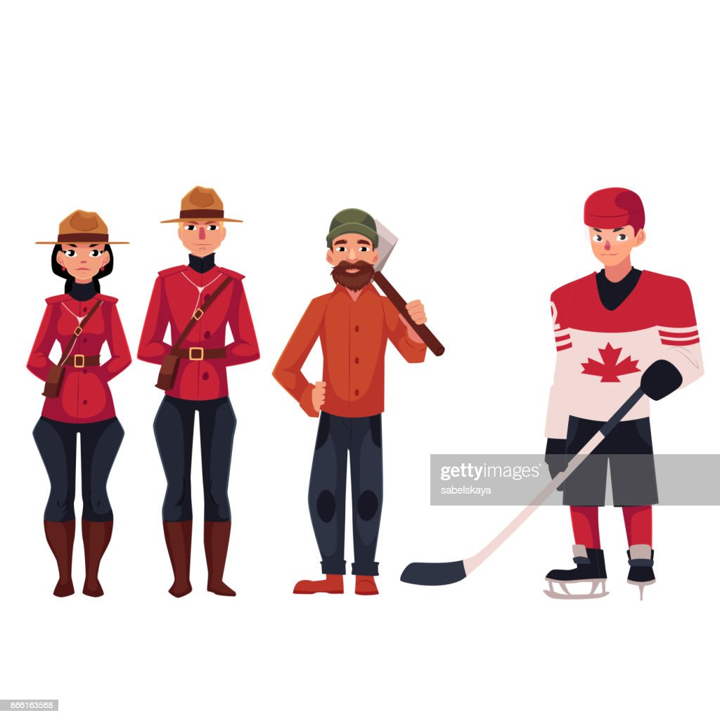 Canadian policeman in traditional uniform, lumberjack and hockey player