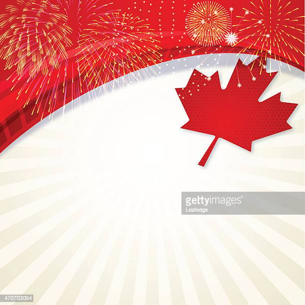 Canadian themed background with fireworks and a maple leaf