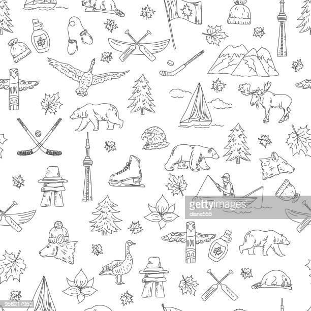 illustrations, cliparts, dessins animés et icônes de icônes canadiens thème doodle - ours polaire