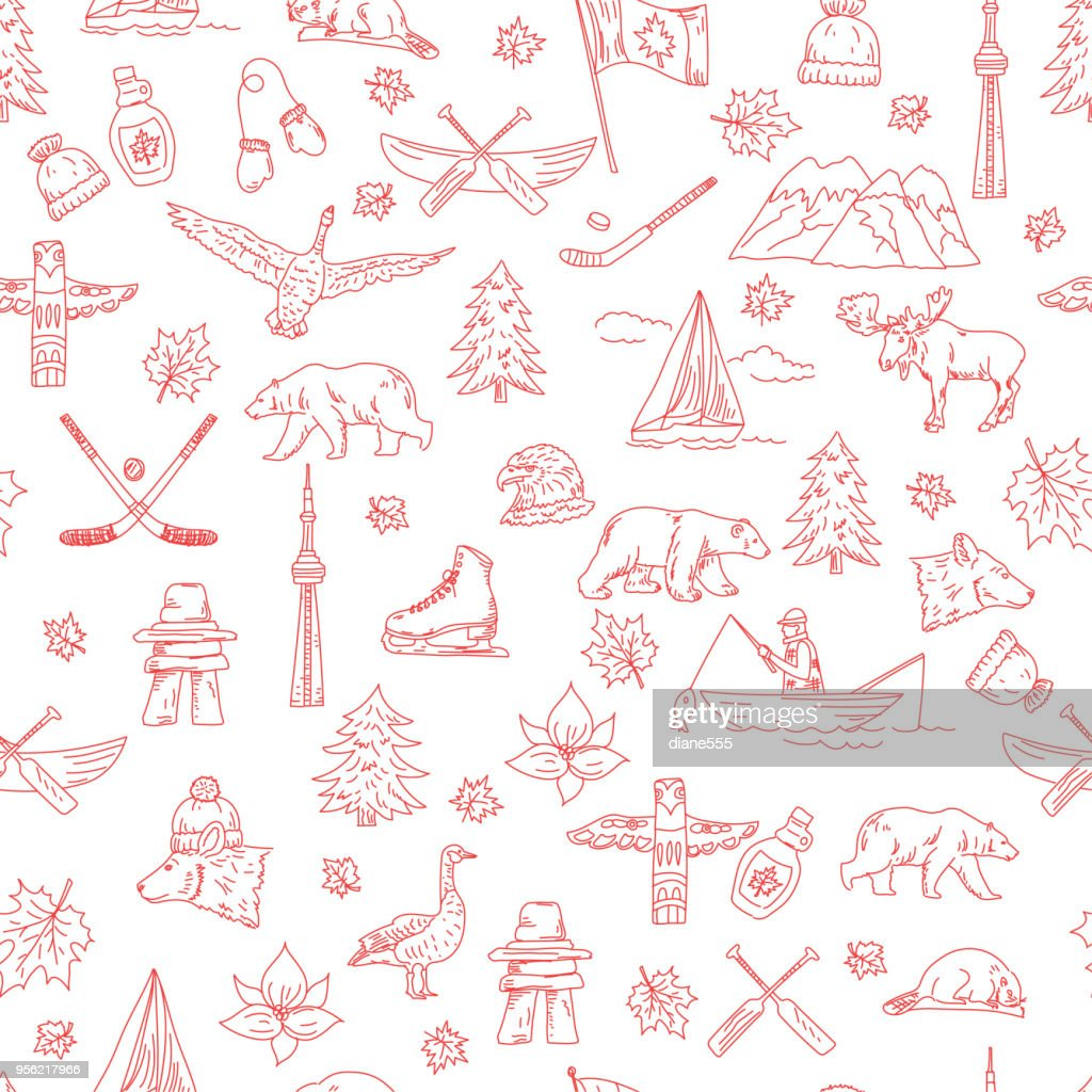 Canadian Themed Doodle Icons : Stock Illustration